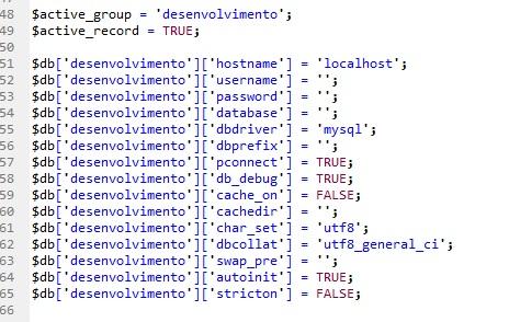 como configurar o banco de dados no codeigniter